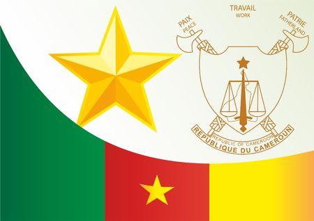 Bandiera del Camerun, modello per il premio, un documento ufficiale con la bandiera e il simbolo della Repubblica del Camerun