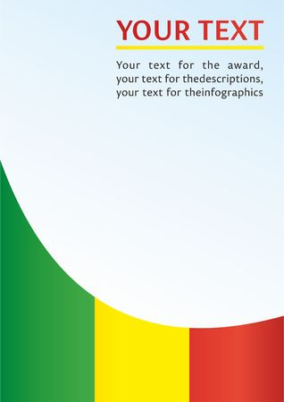 Flag of Mali, template for the award, an official document with the flag of the Republic of Mali