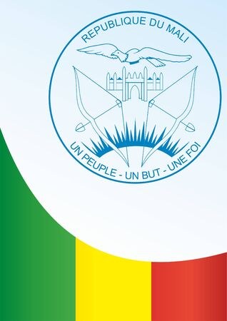 Flag of Mali, template for the award, an official document with the flag and symbol of the Republic of Mali Illustration