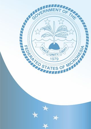 federated: Flag of the Federated States of Micronesia, template for the award, an official document with the flag and symbol of the Federated States of Micronesia