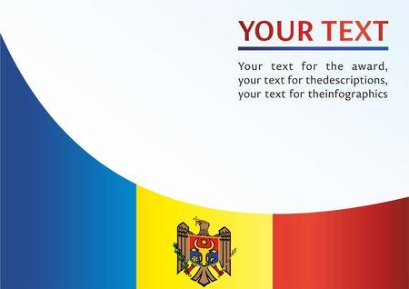 Bandera de Moldavia, plantilla para el premio, un documento oficial con la bandera de la República de Moldavia Ilustración de vector