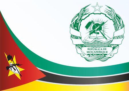 Flagge Mosambiks, Vorlage für die Auszeichnung, ein offizielles Dokument mit der Flagge und dem Symbol der Republik Mosambik Standard-Bild - 78701651