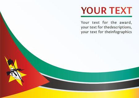 Flagge Mosambiks, Vorlage für die Auszeichnung, ein offizielles Dokument mit der Flagge der Republik Mosambik Standard-Bild - 78701648