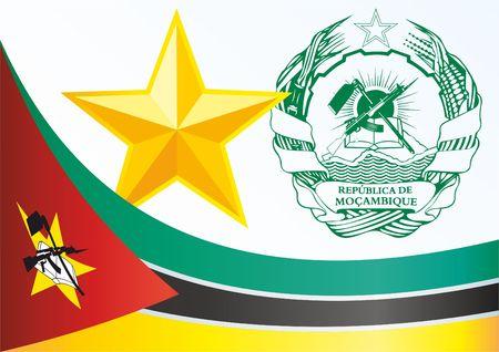 Flagge von Mosambik, Vorlage für die Auszeichnung, ein offizielles Dokument mit der Flagge und dem Symbol der Republik Mosambik Standard-Bild - 78701652