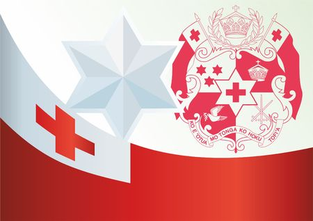 Flag of Tonga, template for the award, an official document with the flag and symbol of the Kingdom of Tonga Illustration