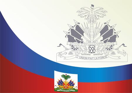 Flag of Haiti, template for the award, an official document with the flag and the symbol of the Republic of Haiti