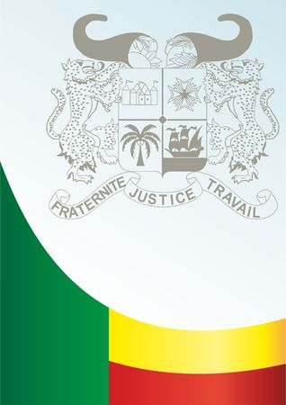 Flag of Benin, template for the award, an official document with the flag and the symbol of the Republic of Benin