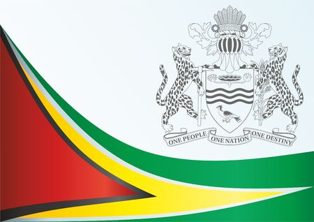 Flag of Guyana, template for the award, an official document with the flag and symbol of the Co-operative Republic of Guyana