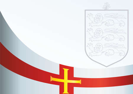 bailiwick: Flag of Guernsey, template for the award, an official document with the flag and the symbol of the of Guernsey