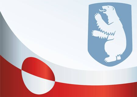 Flag of Greenland, template for the award, official document with the flag and the symbol of Greenland Çizim