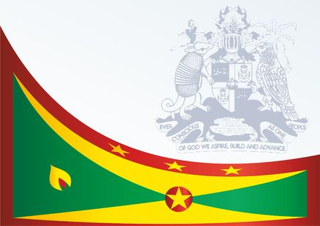 Flag of Grenada, template for the award, official document with the flag and the symbol of Grenada