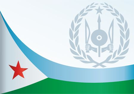 Flag of Djibouti, template for the award, an official document with the flag and the symbol of Djibouti