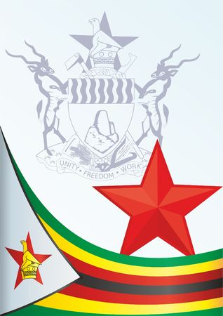 Flag of Zimbabwe, template for the award, an official document with the flag and the symbol of the Zimbabwe