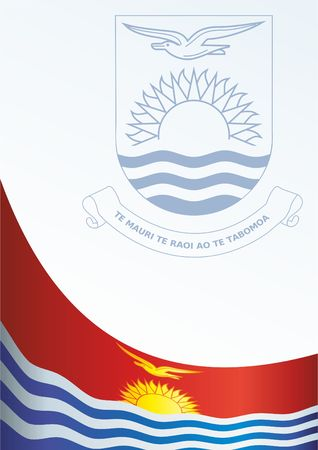 Flag of Kiribati, template for the award, an official document with the flag and the symbol of the Kiribati.
