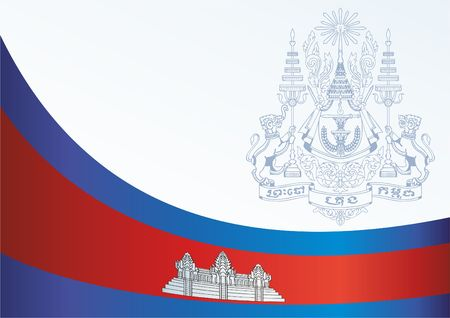 Flag of Cambodia, template for the award, an official document with the flag and the symbol of the Cambodia