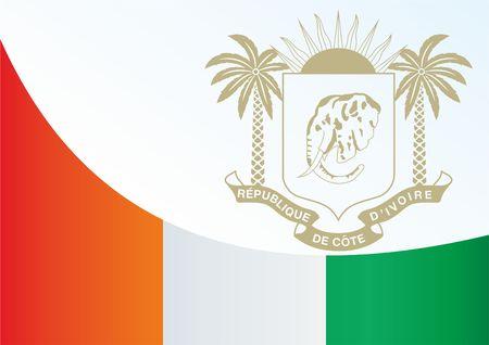 Vlag van Ivoorkust, Republiek Ivoorkust, sjabloon voor de toekenning, een officieel document met de vlag en het symbool van Ivoorkust