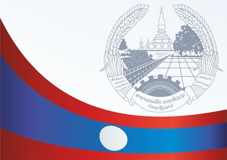 Flag of Laos, Lao Peoples Democratic Republic. Template for the award, an official document with the flag and the symbol of Laos