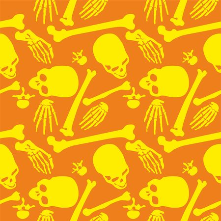 remains: Skull, Seamless pattern with image a skull, Day of The Dead
