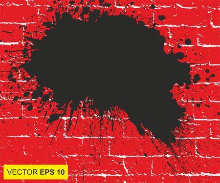 Vector illustratie. Groot realistisch bloed spat op de bakstenen muur Stockfoto - 78968287