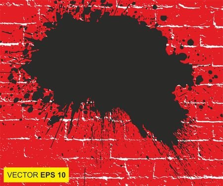carnage: Vector illustration. Big realistic blood splashed on the brick wall Illustration
