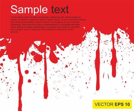 Vector illustration. Big realistic blood splashed on white background