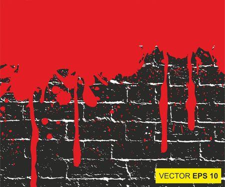 Vector illustration. Big realistic blood splashed on the brick wall Иллюстрация