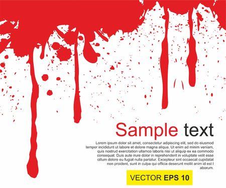 A Vector illustration. Big realistic blood splashed on white background.