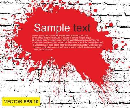 A Vector illustration. Big realistic blood splashed on the brick wall.