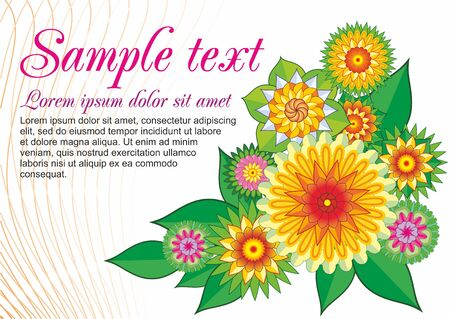 Pattern with bright multicolored flowers. For greetings, invitations, poster. EPS 10. Illustration
