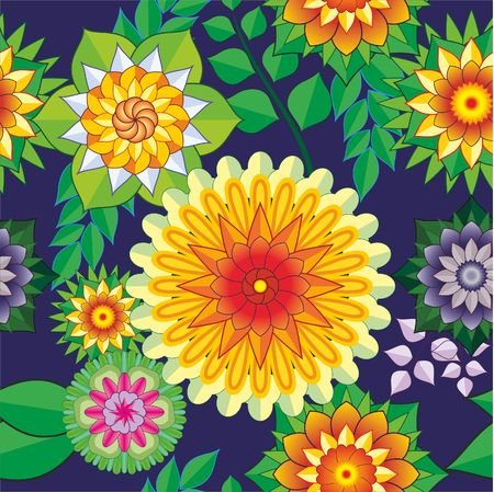 Seamless pattern with bright multicolored flowers. For Wallpapers and design. EPS 10. Illustration