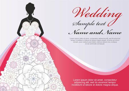 高級テンプレート結婚式ポスター、グリーティング カード。白い花のドレスを着た花嫁。おめでとうございますやテキストのための場所