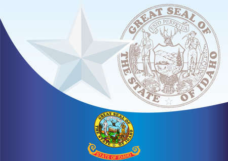 アイダホ州の旗と公式ドキュメント賞のテンプレート、アイダホ州の旗 写真素材 - 79414354