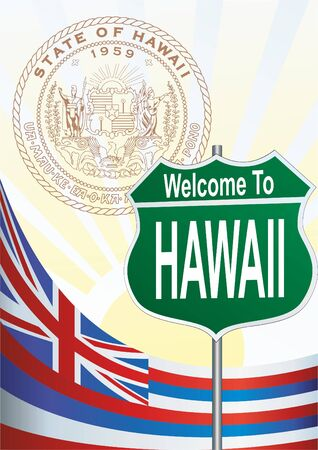 Road sign Welcome to Hawaii Illustration