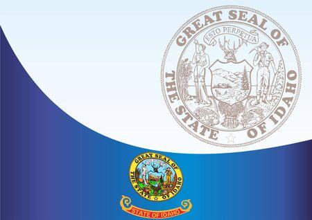 アイダホ州の旗と公式ドキュメント賞のテンプレート、アイダホ州の旗 写真素材 - 79414663