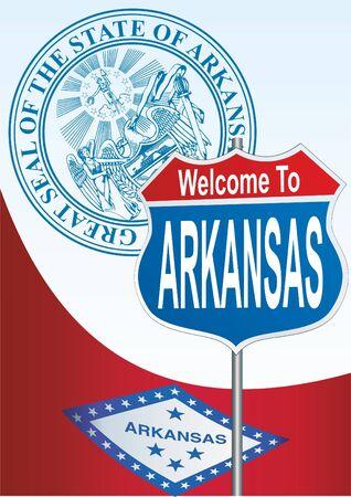 arkansas: Road sign Welcome to Arkansas