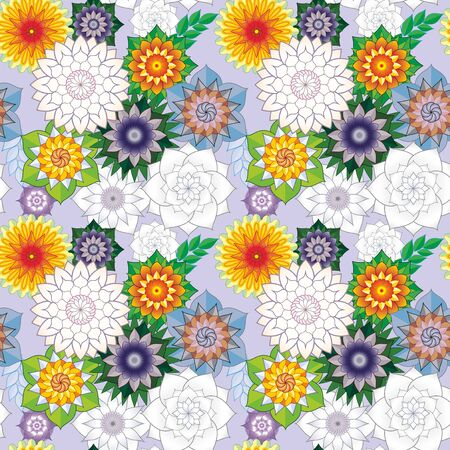Seamless pattern with bright multicolored flowers. For Wallpapers and design Illustration