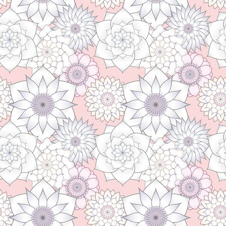 Seamless pattern with bright multicolored flowers. For Wallpapers and design.