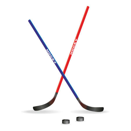 puck: Hockey sticks and puck ice hockey Illustration