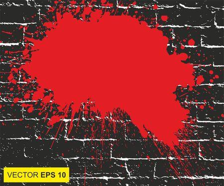 Vector illustratie. Groot realistisch bloed bespat op de bakstenen muur Stockfoto - 79649796