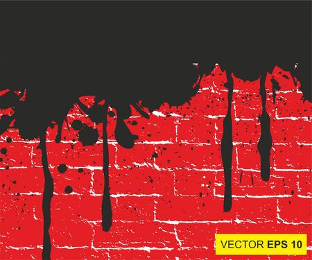 Vector illustration. Big realistic blood splashed on the brick wall Illustration