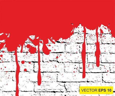 Vector illustration. Big realistic blood splashed on the brick wall Illustration
