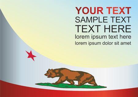 캘리포니아 주 깃발, 수상을위한 템플릿, 캘리포니아주의 국기가있는 공식 문서 일러스트