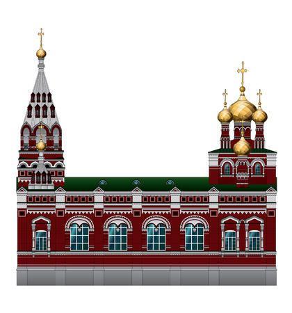 The Russian architecture. Old Church building in the city of Perm. An Orthodox Church. Bishops Compound of the Church of the ascension. Stock Vector - 79748311