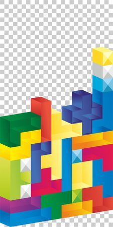Tetris game with pieces of squares. Vector image. Transparent background