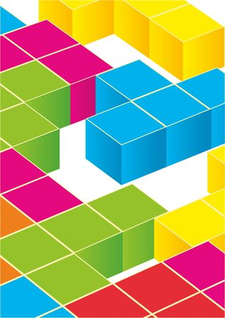 Tetris game with pieces of squares. Vector image