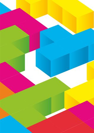 Tetris game with pieces of squares. Vector image Stock Vector - 80263345