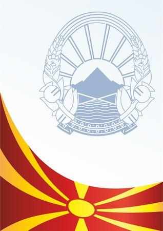 Vlag van de Republiek Macedonië, sjabloon voor de toekenning, en het officiële document met de vlag en het symbool van de Republiek Macedonië