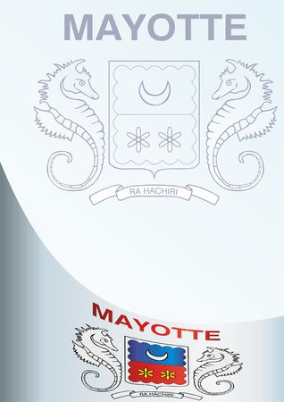white coat: Flag and coat of arms of Mayotte, template for the award, an official document with the flag and coat of arms of Mayotte Illustration