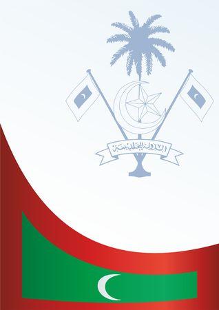 賞、モルディブ共和国のシンボル、フラグと公式文書用のテンプレート、モルディブ共和国の旗  イラスト・ベクター素材