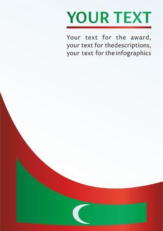 モルディブ共和国の旗と公式ドキュメント賞のテンプレート、モルディブ共和国の旗  イラスト・ベクター素材